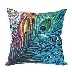 Vintage Home Decor Cotton Linen Throw Pillow Cover Colorful Creative, Green spruce