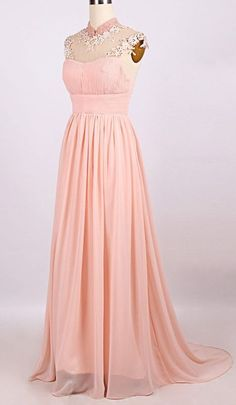 Long A-line High Neck Chiffon Prom Dresses 2017