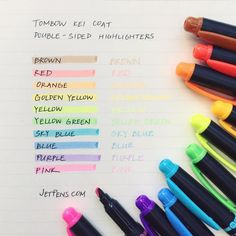 Double-sided Tombow Kei Coat Highlighters are great for some heavy-duty highlighting! . See them here: http://to.jetpens.com/2e24rrx . Clickable link in Instagram profile! . #writingsamplewed #tombowkeicoat #highlighter #studymotivation #studysupplies #studytools #instajetpens