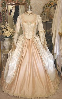 Custom Fantasy Marie Antoinette Victorian/Antique-Style Gown with Flowers. $975.00, via Etsy.
