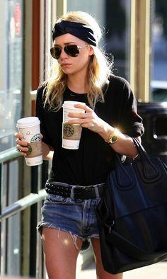 Ashley Olsen // silk turban headband, aviator sunglasses, gold watch, Givenchy bag, studded belt & cut-off denim shorts