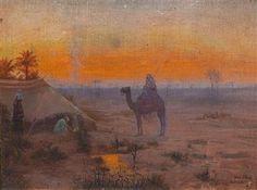 Otto Pilny  (Budweis 1866-1936 Zürich) Abendstimmung über einer Oase, signiert, bezeichnet Otto Pilny Curich, Öl auf Leinwand auf Karton, 19,2 x 26,6 cm, ger, leicht gebogen, wellig, (Rei)