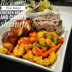 Rice and peas curried shrimp oven baked chicken breast  #curryshrimp #jamaicanfood #jamaica #riceandpeas #food #caribbean
