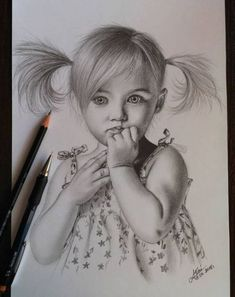 Little girl – Drawing Techniques Pencil Sketch Drawing, Realistic Pencil Drawings, Girl Drawing Sketches, Portrait Sketches, Pencil Art Drawings, Pencil Portrait, How To Draw Realistic, Pencil Sketches Of Girls, Drawing Portraits