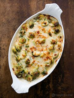 Brussels sprouts blanched and baked in a cheesy white sauce with pancetta and gruyere. A perfect Thanksgiving side! ~ SimplyRecipes.com