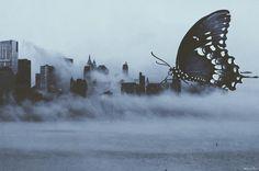 Invisible Cities #surreal #dark #darkart #artist #blue #butterfly #melancholia