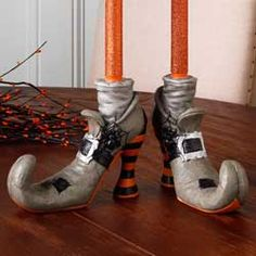 Witch Shoe Candle Holder Set