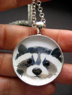 collectable wearable fine art handmade pendant jewlry animal watercolor