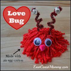 Yarn Love Bugs - An adorable #ValentinesDayCraftForKids