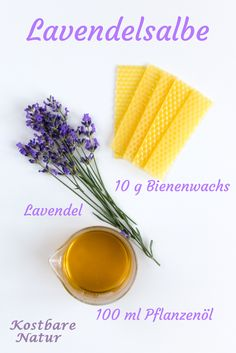 Lavender ointment calms the body and mind- Lavendelsalbe beruhigt den Körper und Geist From the purple flowers of lavender can be conjured up in an instant an aromatic ointment that can relax not only your body but also your nerves. Diy Beauté, Natural Cosmetics, Bar Soap, Purple Flowers, Natural Remedies, The Balm, Herbalism, Beauty Hacks, Perfume