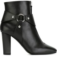 Giuseppe Zanotti Design Double Zip Ankle Boots (€725) ❤ liked on Polyvore featuring shoes, boots, ankle booties, black, black ankle bootie, black leather bootie, short black boots, high heel bootie and leather bootie