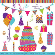 Party Clipart Clip Art, Birthday Cake Clipart Clip Art- Commercial and Personal… Art Birthday Cake, Birthday Party Clipart, Birthday Clips, Happy Birthday, Dinosaur Birthday, Birthday Presents, Cake Clipart, Party Banners, Paper Background