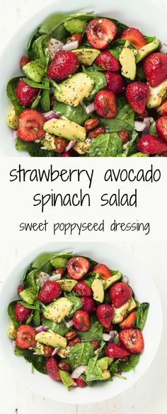 spinach salad with strawberries, avocado and poppyseed dressing