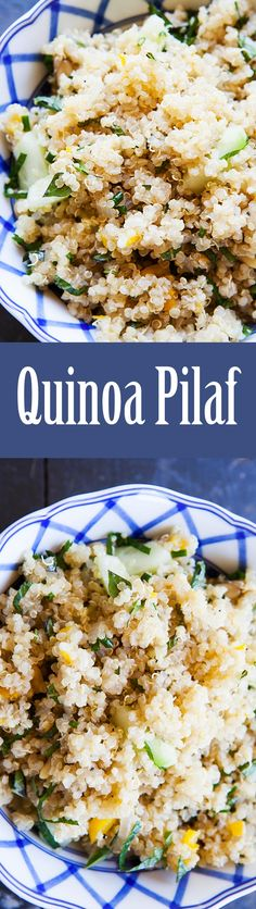 Like rice pilaf, but make with quinoa! Naturally high in protein and #glutenfree, this quinoa pilaf has onions, bell pepper, garlic, and is tossed with herbs and cucumber. So EASY and healthy too! On SimplyRecipes.com