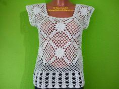 Thainá Agulha de Crochê: Blusa / Top de crochê da Mel Lisboa