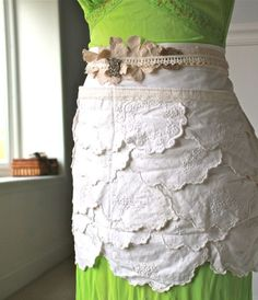 Handmade Apron from Vintage Doilies Lace and Ribbon by GlitterFarm, $68.00
