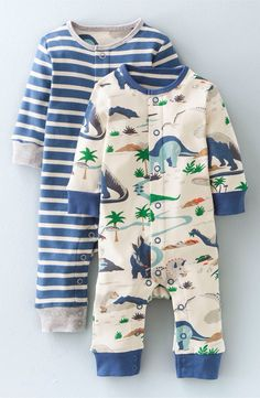 Mini Boden Mini Boden Stripe & Dinosaur Rompers (2-Pack) (Baby Boys) available at #Nordstrom