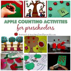 Add some simple hands-on math to your fall curriculum with these preschool apple counting activities. A fun collection for home or school! Counting Activities For Preschoolers, Preschool Apple Activities, Preschool Apple Theme, Preschool Lesson Plans, Preschool Education, Preschool Themes, Preschool Math, Fun Math, Kindergarten