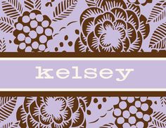 Personalized Purple Tropical Flowers Foldover Note Cards