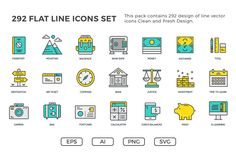 292 Flat Line Icons Pack by .C-Du on Creative Market