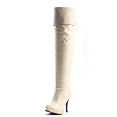 Fashion Round Toe Back Lace-up Stiletto Super High Heels Apricot PU Slip On Over the Knee Boots - http://www.vudress.com/