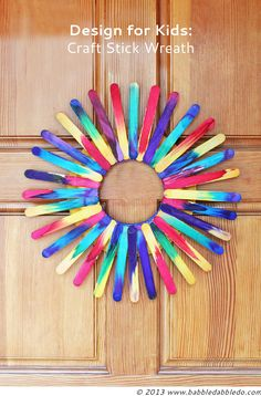Let your kids turn your home into the coolest house on the block with this bright Tie-Dye Popsicle Stick Wreath. This DIY wreath lets your kids have fun tie-dying popsicle sticks with watercolors. Craft Stick Projects, Diy Projects For Kids, Easy Crafts For Kids, Craft Stick Crafts, Fun Crafts, Art For Kids, Arts And Crafts, Craft Sticks, Popsicle Stick Crafts