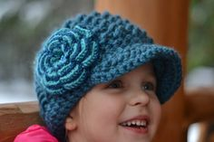 Crochet Newsboy Hat for Girls in Blue with shimmery by Rouve, $30.00