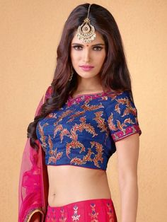 030ad28a3114 #threadsutra #wedding #dresses - Rani Pink Art Silk Lehenga Blue Blouse Net  Dupatta