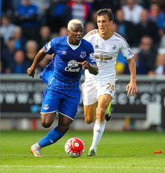 Everton's Arouna Kone goes past Swansea City's Jack Cork.