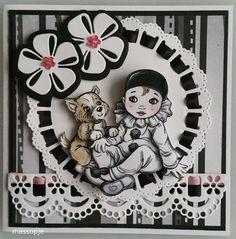 Voorbeeldkaart - zwart /witte kaart met de pierot - Categorie: 3D - Hobbyjournaal uw hobby website
