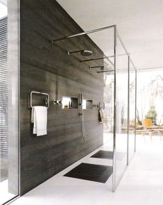 Open showers; Cote Sud via http://linenandlavender.blogspot.com/p/bath-designs.html