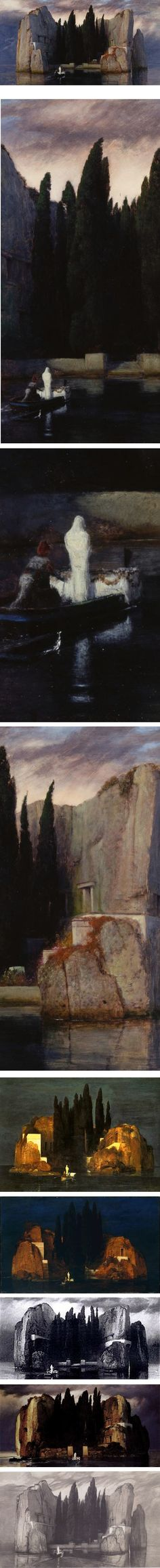 Isle of the Dead, Arnold Bocklin, five versions plus etching by Max Klinger