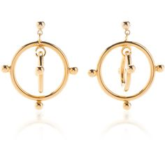 Marni Floating Circle Gold-Tone Earrings (€325) ❤ liked on Polyvore featuring jewelry, earrings, gold, statement earrings, earring jewelry, gold colored jewelry, gold tone jewelry and marni