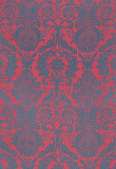 Fabric | Anna Damask in Rouge / Prussian Blue | Schumacher