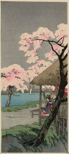 Cherry Blossoms at the Sumida River Bank by Shotei Takahashi
