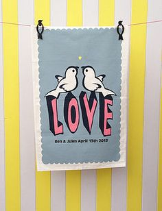 Personalised love birds tea towel from not on the high street