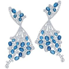 Graziela Gems.  Midnight Aquamarine and Diamond Earrings.