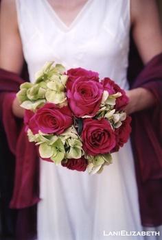 fuchsia and green bridesmaid bouquet