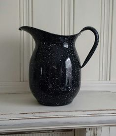 Vintage Black Speckled Enamel Ware Pitcher made by the Vollrath Company for the US Navy in the 1940's by MyComfyCozyHome on Etsy