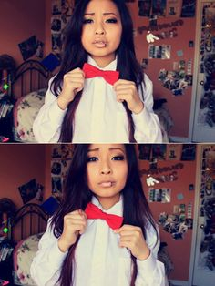Love the red bow tie with the suspenders