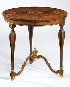 19th-century English style occasional table inlaid with walnut, olive burl and boxwood, antique gold-leaf trim; made in Italy
