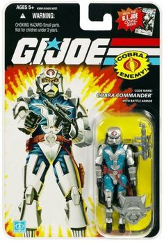 G.I. JOE Hasbro 3 3/4 Wave 6 Action Figure Cobra Commander Battle Armor by Hasbro Toys. $8.50. Includes Battle armor and stand. For age 5 and up. Back has a Detail Card to clip & save for your G.I. Joe files. G.I. Joe 25th Anniversary Cobra Commander Action Figure. THIS IS A GI JOE 25TH BATTLE ARMOR COBRA COMMANDER.  SEALED AND NEW ON CARD.  BE SURE TO VISIT MY WEBSTORE: http://docking-bay-94-toys.hostedbyamazon.com/