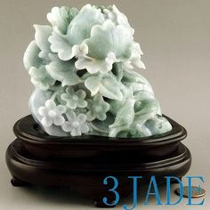 Natural Jadeite Jade Carving / Sculpture: Birds & Flower Statue