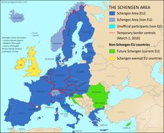 Map Of Temporarily Reintroduced Border Control In The Schengen Area (the  European Unionu0027s Border Free Travel Zone), Color Coded For EU Schengen  Countries, ...