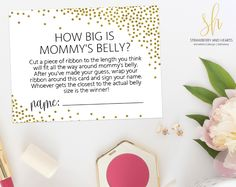 Get the party started with fun 'How big is mommy's belly' game! Every baby shower has to have games and this one is the perfect ice breaker! #printable #babyshower #babyshowergames #babyshoweractivity #babyshowerstationery #SHdesigns