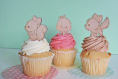 Baby shower Cupcake topper - woodland animals, cartoon, wood etched. SET OF 6 - http://babyshower-cupcake.com/baby-shower-cupcake-topper-woodland-animals-cartoon-wood-etched-set-of-6/