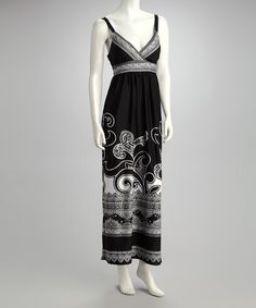 Take a look at this Black & White Surplice Maxi Dress by Olivia Matthews on #zulily today!