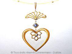 Pendentif coeur, lotus ajouré saphir et diamants
