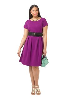 Pleated Textured Dress In Tonga Violet