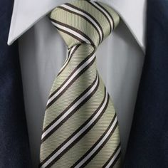 Metal Tone & White Striped Neckties / Formal Business Neckties